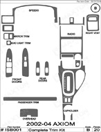 2004 Isuzu Axiom Dash Kit Shadow Sheet
