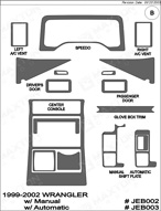 2000 Jeep Wrangler Dash Kit Shadow Sheet