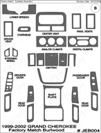 1999 Jeep Grand Cherokee Dash Kit Shadow Sheet