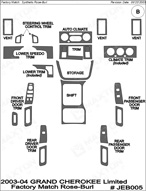 2004 Jeep Grand Cherokee Dash Kit Shadow Sheet