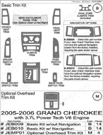 2006 Jeep Grand Cherokee Dash Kit Shadow Sheet