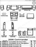 2006 Jeep Commander Dash Kit Shadow Sheet