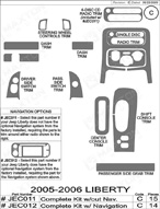 2006 Jeep Liberty Dash Kit Shadow Sheet