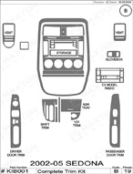 2002 Kia Sedona Dash Kit Shadow Sheet