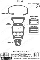 2008 Kia Rondo Dash Kit Shadow Sheet
