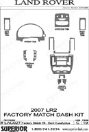 2007 Land Rover LR2 Dash Kit Shadow Sheet