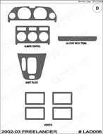 2003 Land Rover Freelander Dash Kit Shadow Sheet