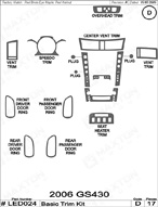 2006 Lexus GS430 Dash Kit Shadow Sheet