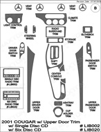 2001 Mercury Cougar Dash Kit Shadow Sheet