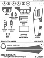 2002 Mercury Cougar Dash Kit Shadow Sheet