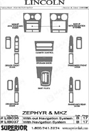 2008 Lincoln MKZ Dash Kit Shadow Sheet