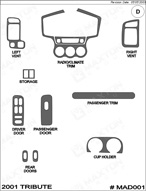 2001 Mazda Tribute Dash Kit Shadow Sheet