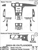 2005 Mitsubishi Outlander Dash Kit Shadow Sheet