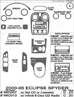 2005 Mitsubishi Eclipse Dash Kit Shadow Sheet