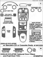 2001 Mitsubishi Eclipse Dash Kit Shadow Sheet