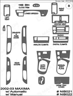 2002 Nissan Maxima Dash Kit Shadow Sheet