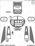 2004 Nissan Quest Dash Kit Shadow Sheet