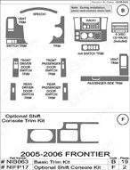 2007 Nissan Frontier Dash Kit Shadow Sheet