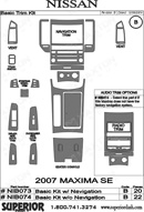 2007 Nissan Maxima Dash Kit Shadow Sheet