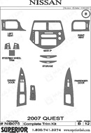 2007 Nissan Quest Dash Kit Shadow Sheet