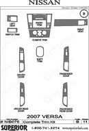 2009 Nissan Versa Dash Kit Shadow Sheet