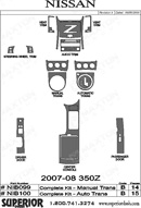 2009 Nissan 350 Z Dash Kit Shadow Sheet