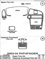2003 Nissan Pathfinder Dash Kit Shadow Sheet