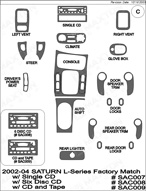 2004 Saturn L-Series Dash Kit Shadow Sheet