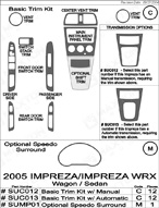 2006 Subaru Impreza WRX Dash Kit Shadow Sheet
