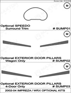 2002 Subaru Impreza WRX Dash Kit Shadow Sheet