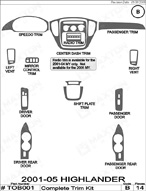 2001 Toyota Highlander Dash Kit Shadow Sheet