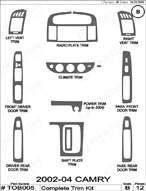 2004 Toyota Camry Dash Kit Shadow Sheet