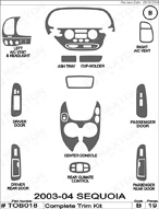 2003 Toyota Sequoia Dash Kit Shadow Sheet