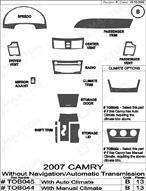 2008 Toyota Camry Dash Kit Shadow Sheet