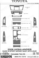 2008 Toyota Highlander Dash Kit Shadow Sheet