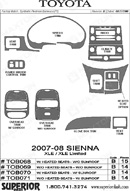 2009 Toyota Sienna Van Dash Kit Shadow Sheet