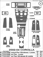 2003 Toyota Corolla Dash Kit Shadow Sheet