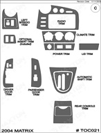 2004 Pontiac Vibe Dash Kit Shadow Sheet