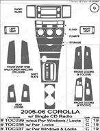 2008 Toyota Corolla Dash Kit Shadow Sheet
