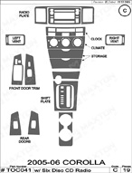 2005 Toyota Corolla Dash Kit Shadow Sheet