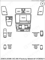 2004 Volvo XC-90 Dash Kit Shadow Sheet