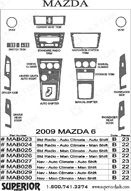 2009 Mazda 6 Dash Kit Shadow Sheet